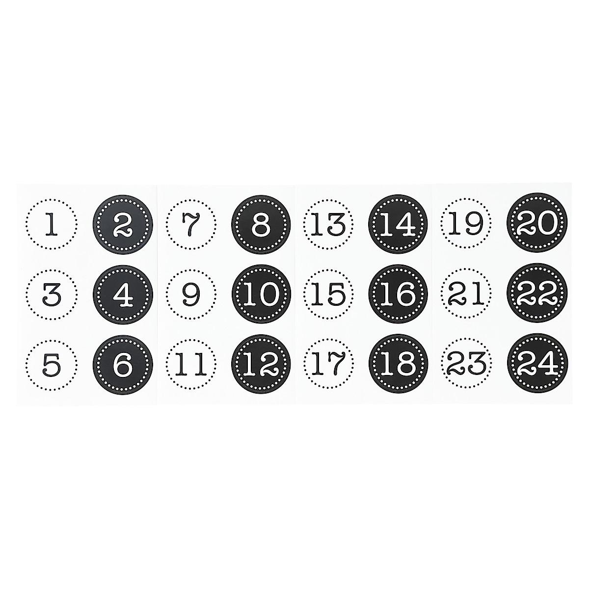 Joulukalenteripussit numerotarroilla (1-24)